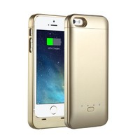 [Apple-Certified] EasyAcc® B5 MFi 2200mAh Ultraslim iPhone 5 5s Battery Charging Case, Rechargeable Extended Protective Battery Case for iPhone 5 5s, Original Lightning Charging Plug, Gold[24-Month Warranty]