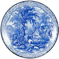 LavishShoestring | Antique English Fenton Blue & White Earthenware Decorative Dinner or Serving Plate