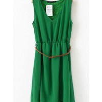 Women V Neck Asymmetric Chiffon Sleeveless Green A Line Dark Grain Flowers Dress S/M/L@II0117gr $17.99 only in eFexcity.com.