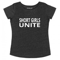 Short Girls Unite (Black)-Female Heather Onyx T-Shirt