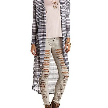 Striped Dolman Duster Cardigan by Charlotte Russe - Navy Combo