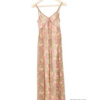 Women Chiffon V-Neck Spaghetti Straps Flowers Empire Waist Euro Style Khaki Dress S/M@TS110523k $27.99 only in eFexcity.com.