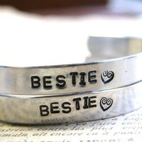 Hand Stamped ONE WORD Bridesmaid Wedding BFF Best Friends Cuff Bracelet Aluminum Set of 2