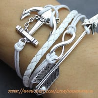 silvery anchor bracelet infinity karma bracelet wish bracelet white rope bracelet white leather bracelet -N550