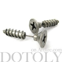 3D Fake Gauge Realistic Nuts and Bolts Screw Stud Earrings