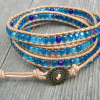 Beaded Leather 4 Wrap Bracelet with Beachy Blue Czech Glass Beads