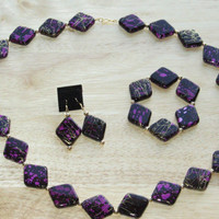 3 Piece Jewelry Set in Black, Purple and Gold