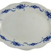 LavishShoestring | Vintage English Blue & White Pottery Large Serving Platter