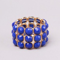 Rose Cut Stone Stretch Bracelet in Royal Gold