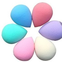 Hot Sale Beauty Facial Makeup Blender Foundation Puff Sponges Colors by Random (6pc Tear Drop Shape)