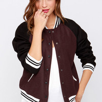 Pinch Runner Dark Burgundy Varsity Jacket