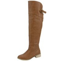 Womens Knee High Boots Belted Back Over The Knee Riding Shoes Tan SZ