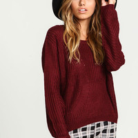 Burgundy Chunky Knit Sweater