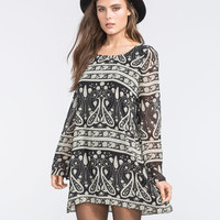 Blu Pepper Boho Print Womens Tunic Dress Black  In Sizes