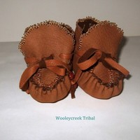 Handmade Tribal Baby Moccasins Brown Deer Skin With Gold Beads