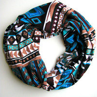 Native print Infinity Scarf, Cozy Infinity Scarf, Women's loop scarf, Aztec Fashion Circle Scarf