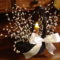Black Basket, White Pip Berries and Timer Candle (LED)