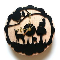 laser cut wall clock enchanted forestwhimsicalwood by by bonni1982