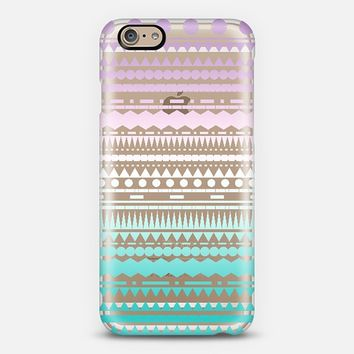Teal Lilac Ombre Aztec Transparent iPhone 6 case by Organic Saturation | Casetify