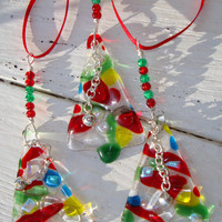 Rainbow Glass decorations set of three festive colour set of three