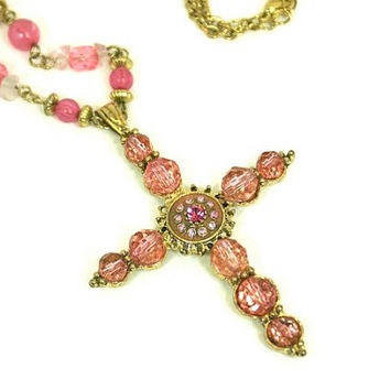 Pink Cross Necklace Rhinestones and Faceted Beads Gold Tone