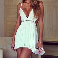 LookbookStore White V Plunge Low-Cut Backless Camisole Women's Mini Dress