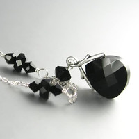 Black Necklace Sterling Silver Swarovski Jet Black Crystal Necklace Midnight Black Necklace Silver Vine