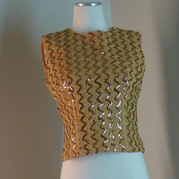 Gold Sequined Sleeveless Top