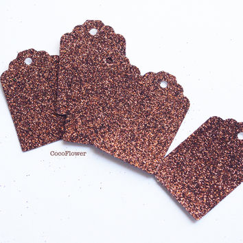 10 Little Gift tag brown glitter set