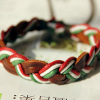 Fashion Multilayer Weaved Leather and Cotton rope Wrap Bracelet W-04
