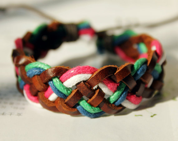 Fashion Multilayer Weaved Leather and Cotton rope Wrap Bracelet W-02
