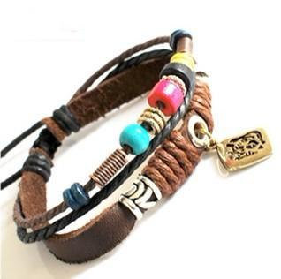 Bangle leather bracelet men bracelet women bracelet ropes Bracelet made of leather and ropes wood beads bracelet SH-01022253