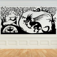 Fantasy Dragon and Princess Panel (smaller version) - Vinyl Wall Art Decal