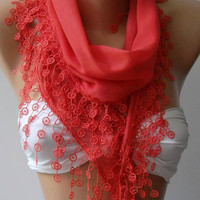 ON SALE....Coral Color - Cotton -Scarf-Shawl....Bridesmaids Gifts....Feminine... quality  cotton  fabric