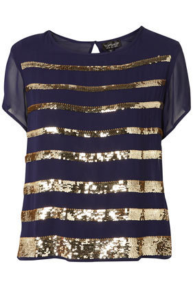 Sequin Stripe Tee -   - Collections