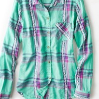 AEO Women's Jaquard Plaid Shirt (Mint)