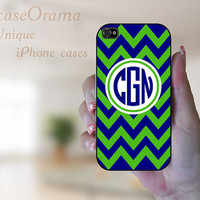 Monogrammed iPhone 4 case - Kelly Green and Navy Blue Chevron with Monogram Navy Blue Iphone 4 hard case iPhone 4S case