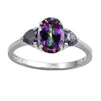 Amazon.com: Sterling Silver Ring - Rainbow Topaz and Clear CZ - 8 mm, Sizes 6-9: Jewelry