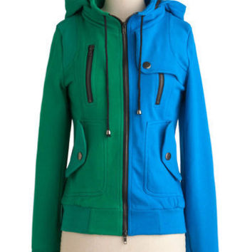 Leipzig Hoodie in Sky and Grass | Mod Retro Vintage Jackets | ModCloth.com
