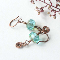 Blue dangle earrings -  faceted aqua teal sky blue czech glass & copper