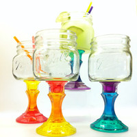 Four Rainbow Mason Jar Wine Glasses Ready to Ship