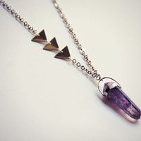 amethyst triangle necklace, geometric necklace, layering necklace, stone necklace, boho necklace