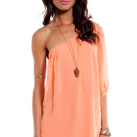 One Shoulder Chiffon Mini Dress $54
