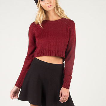 Cropped Knit Sweater - Burgundy - Burgundy /