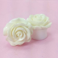 """SALE (20% OFF!) Buy 2 Pairs/get 3rd FREE! Large Off-White Flower Rose Plugs/Gauges 3/4"""" 7/8"""" 1"""" 1 1/16"""" 1 1/8"""""""