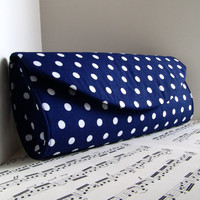 Navy blue and white polka dot clutch purse. Blue clutch bag. Summer fashion. Made to order