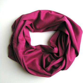 Infinity Loop Scarf, Magenta Plum Fashion Scarf, womens winter accessories, cozy jersey scarf, gift for her