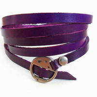 Jewelry bangle leather bracelet buckle bracelet  women bracelet girls bracelet made of purple leather metal buckle cuff SH-2208
