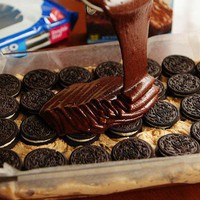 OMG!!!!Brownie batter, poured over oreos, arranged over cookie dough, served warm with ice cream on top.Yummo!