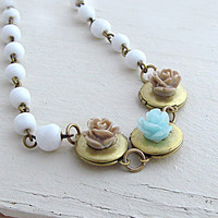 Flower Locket Necklace Mint Rose Necklace Triple Locket Necklace Family Necklace White Beaded Chain Wedding Bride - Keepsake Garden
